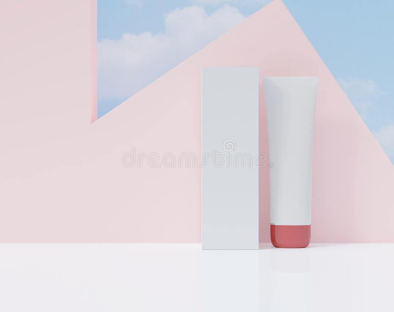 Box and tube on a white color. Cosmetic ads poster. Mock up set for advertising ,3d rendering vector illustration