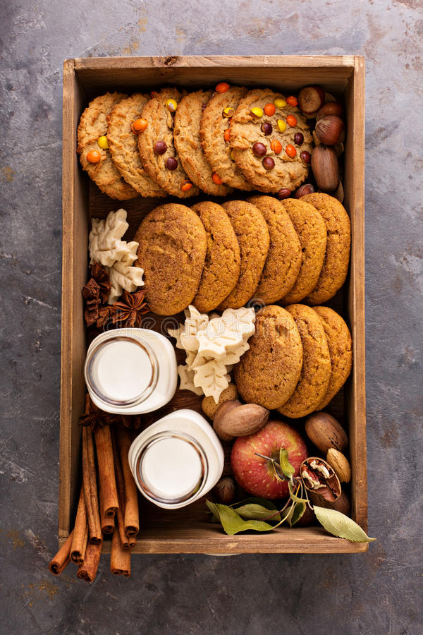 Box with variety of fall cookies and milk bottles royalty free stock photo