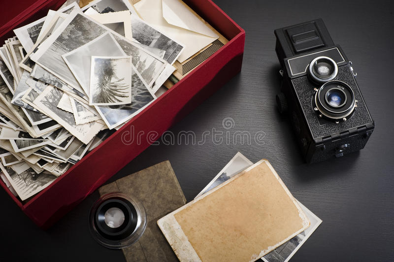 Box with vintage photos royalty free stock image