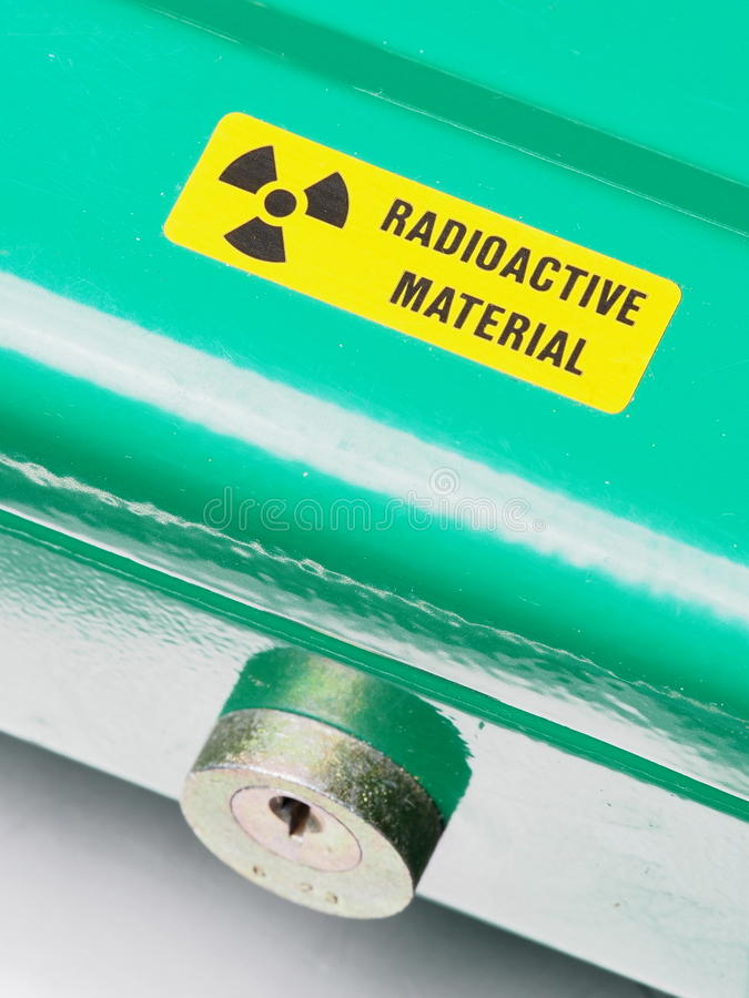 Box with warning sticker and lock containing radioactive materials. Melbourne 2015 stock photo