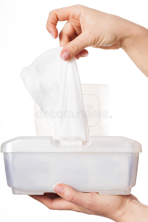 Box with wet wipes royalty free stock photography