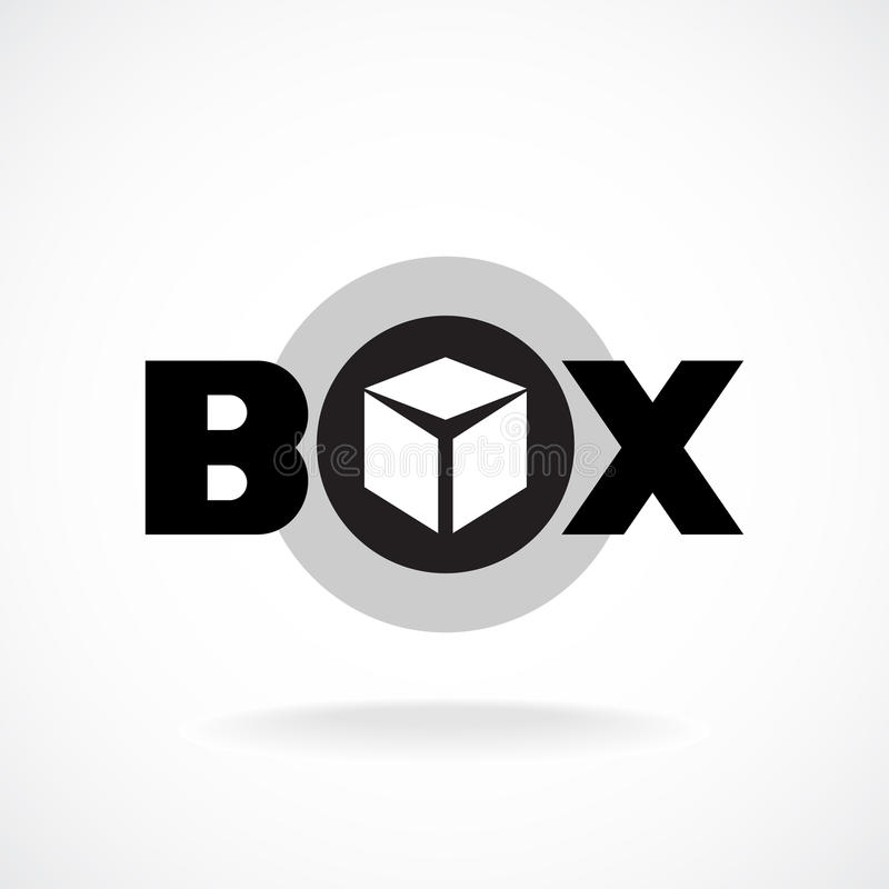 Box word sign text logo. Box word sign with simple perspective image of a box royalty free illustration