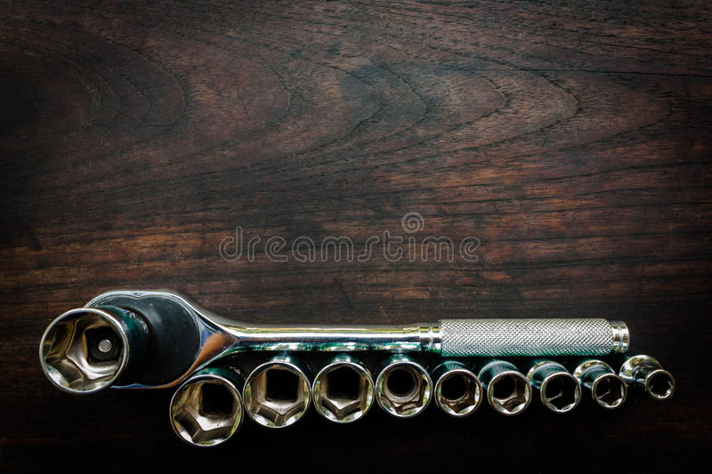 Box wrench head bits for the screwdriver and other tools on a da royalty free stock photo