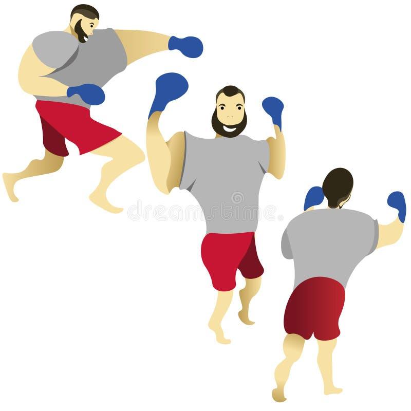 boxare Boxareutbildning Boxaretakter vektor illustrationer