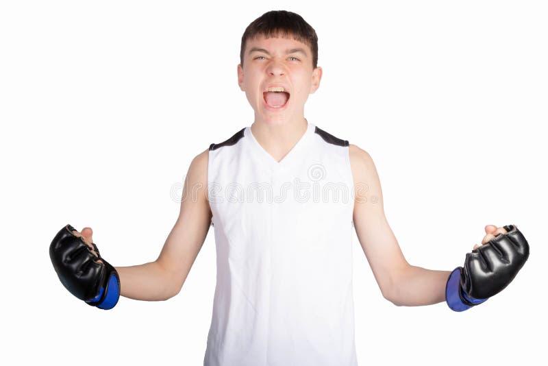 Boxare f?r ton?rs- pojke royaltyfri bild