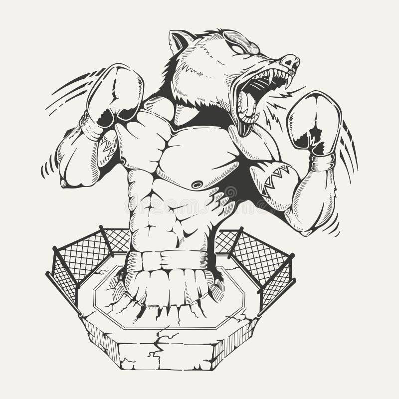 Boxare för vektorbildstam med ett ilsket varghuvud stock illustrationer