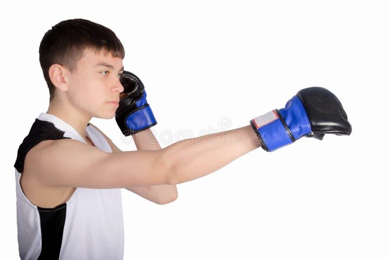 Boxare f?r ton?rs- pojke fotografering för bildbyråer