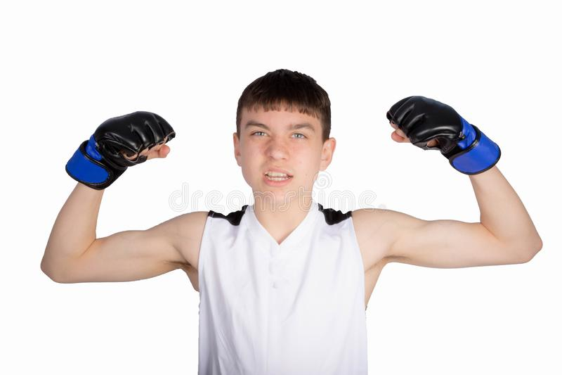 Boxare f?r ton?rs- pojke arkivfoto