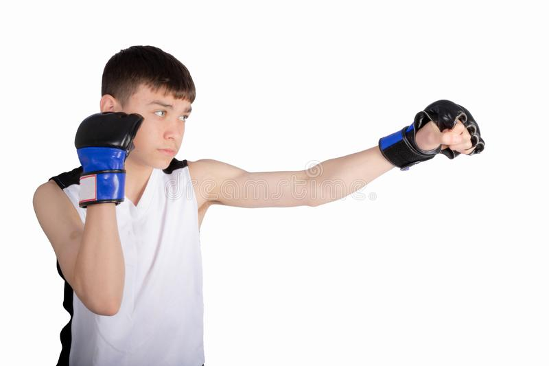 Boxare f?r ton?rs- pojke arkivfoton