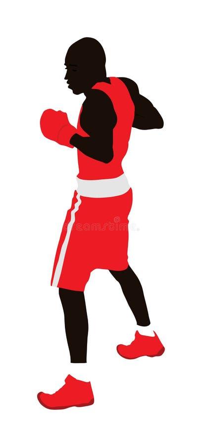 Boxare i cirkelvektorillustration Stark afro- amerikansk kämpe vektor illustrationer