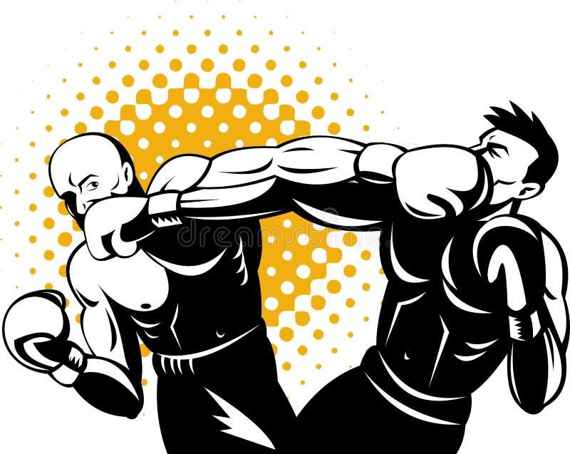 boxare som förbinder knockout- stansmaskin stock illustrationer