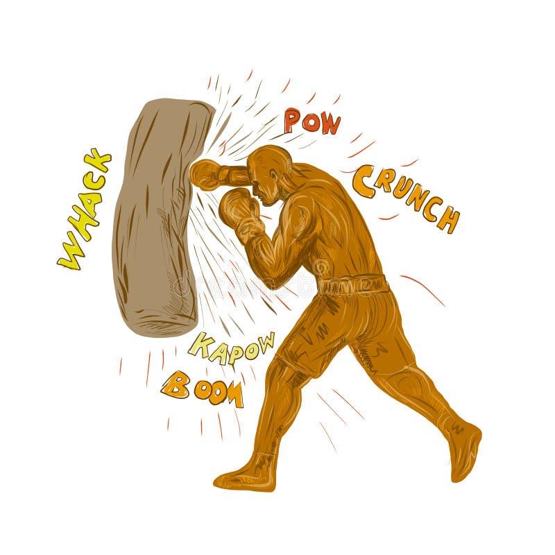 Boxare som slår stansa påseteckningen vektor illustrationer