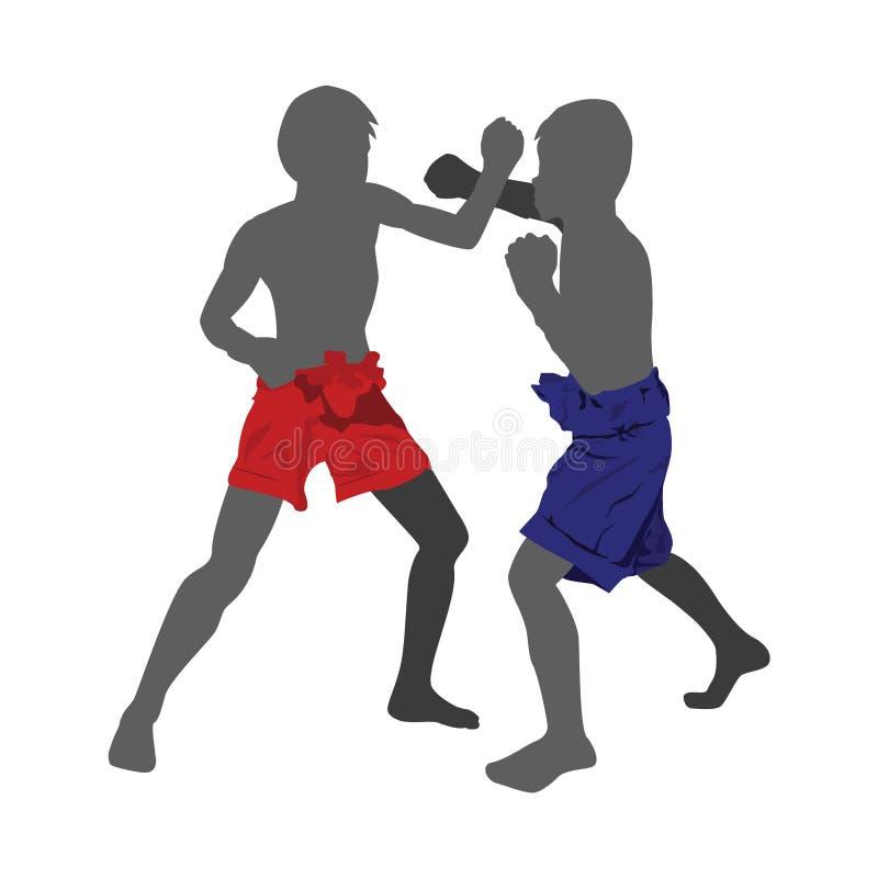 boxare som slåss brandillustration två arkivbilder