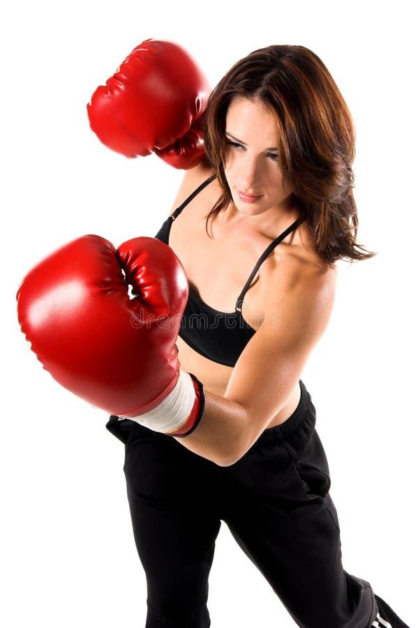 Download Boxarekvinnlig arkivfoto. Bild av isolerat, kondition, handskar - 289516