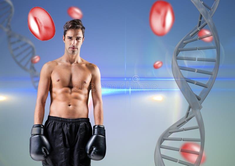 Boxareman med DNAkedjan och röd saker i en blå bakgrund royaltyfri foto