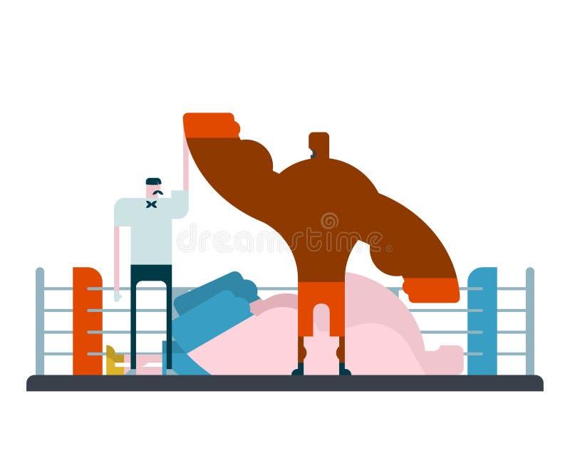 Boxaren är vinnaredomarehanden upp hans hand som ska kämpas för knockout vektor illustrationer