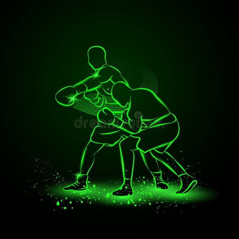 Boxaren har slågit och motståndarenedgångarna i knockout royaltyfri illustrationer