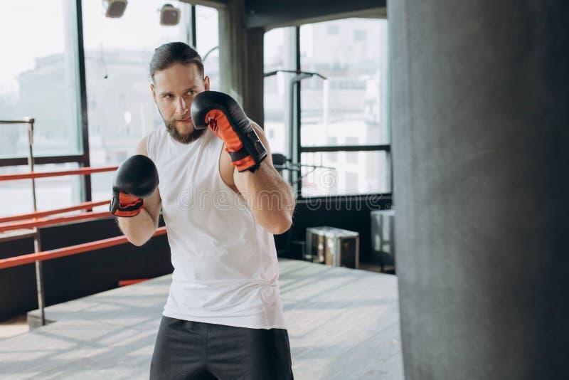 Boxaren slår den stansa påsen i idrottshall i ultrarapid Ung man som inomhus utbildar Stark idrottsman nen i idrottshall royaltyfria bilder