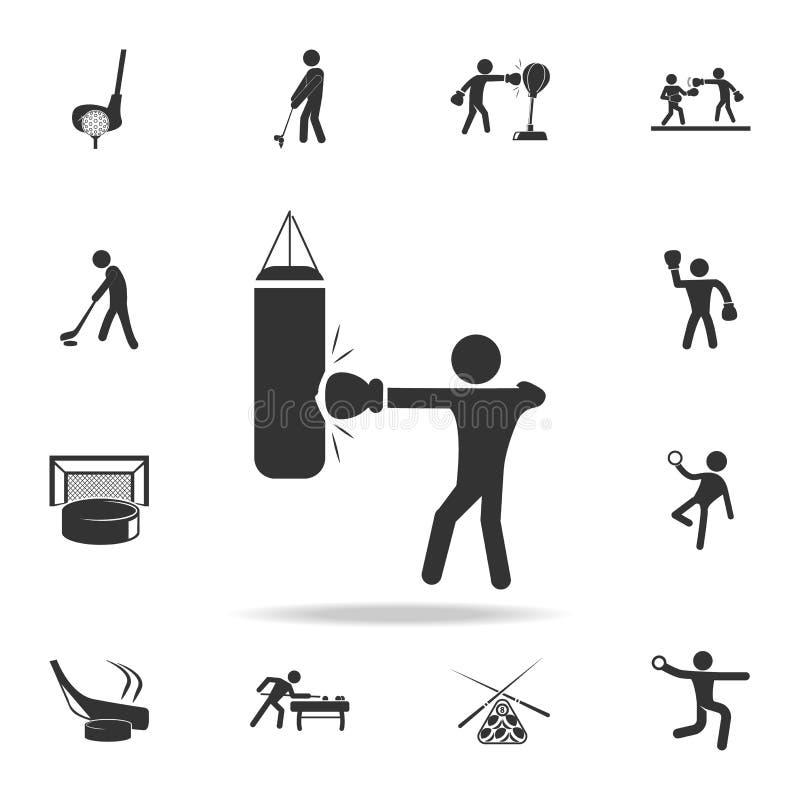 Boxaretakter som stansar påsesymbolen Detaljerad uppsättning av idrottsman nen- och tillbehörsymboler Högvärdig kvalitets- grafis stock illustrationer
