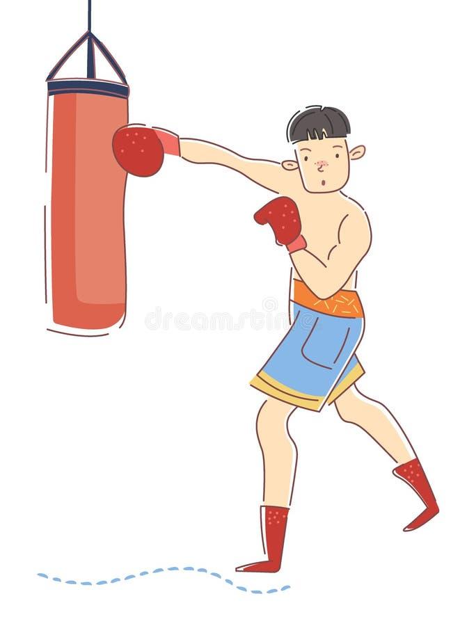 Boxareutbildning i idrottshall Den unga idrottsmannen sparkar den stansa påsen B?rande boxninghandskar f?r pojke Yrkesm?ssig spor royaltyfri illustrationer