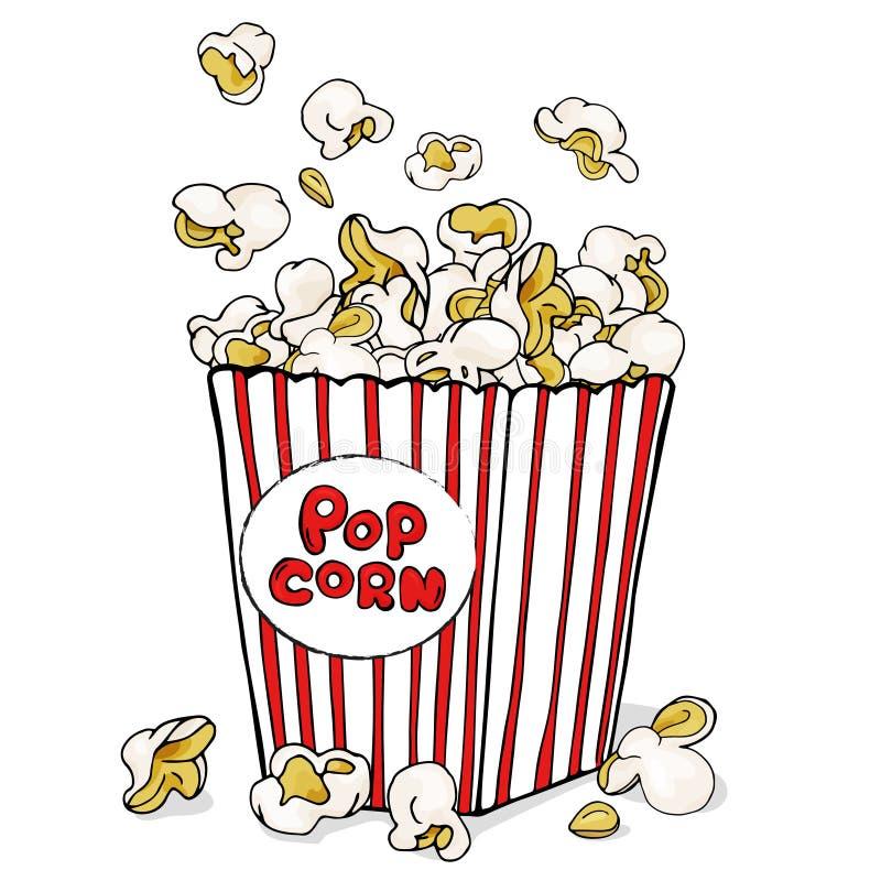 Boxas av popcorn För meny rengöringsduk, affisch Symbol av fastfood, bio, underhållning vektor illustrationer