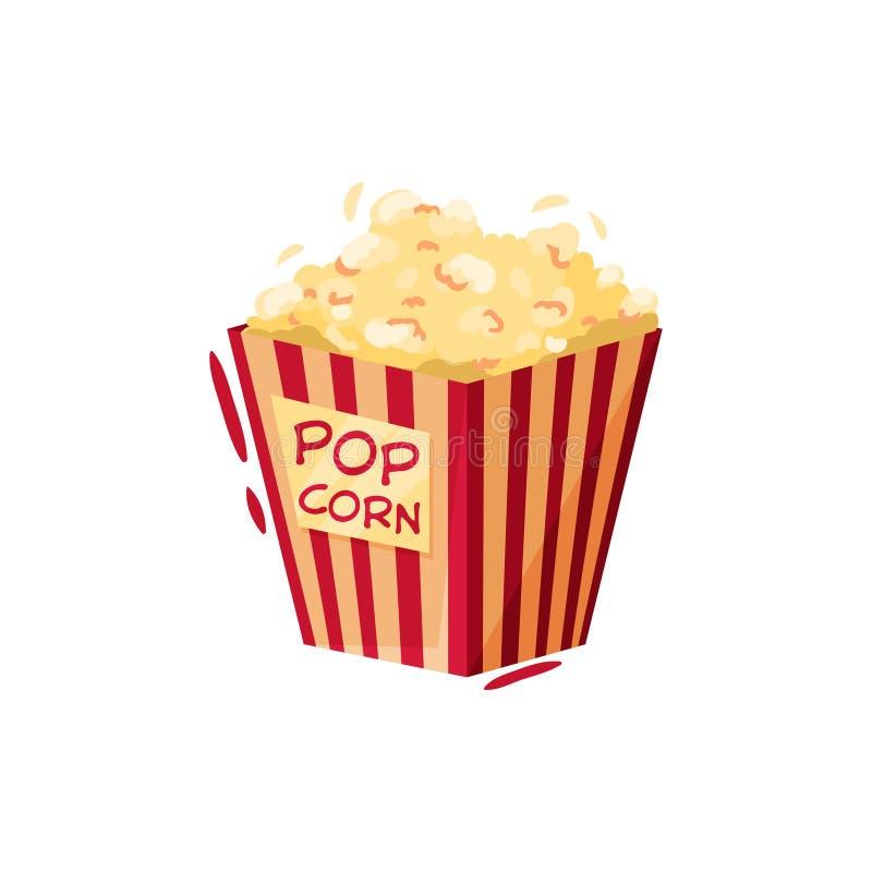 Boxas av popcorn smakligt mellanmål Symbol av bion eller cirkusen Tecknad filmvektordesign för annonsering av affischen eller av  royaltyfri illustrationer