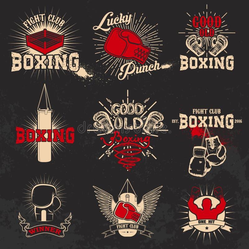 boxas Boxas klubbaetiketter på grungebakgrund T-tröjatryck t stock illustrationer