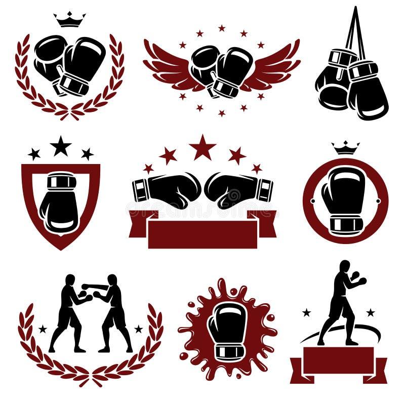 Boxas etiketter och symbolsuppsättningen. Vektor stock illustrationer