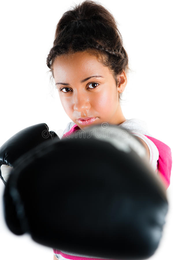 boxas för stansmaskinrace för jab blandat barn för tonåring royaltyfri bild
