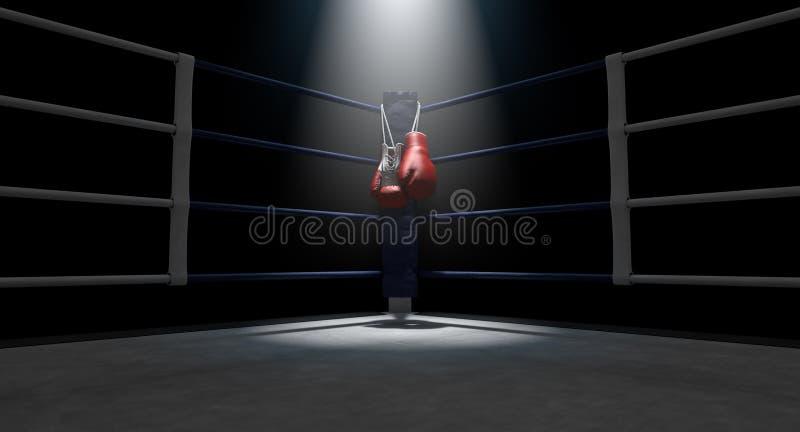 Boxas hörn- och boxninghandskar stock illustrationer