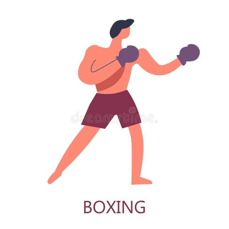 Boxas isolerade manliga teckenet för stridighet det konst i handskar och skjortor vektor illustrationer