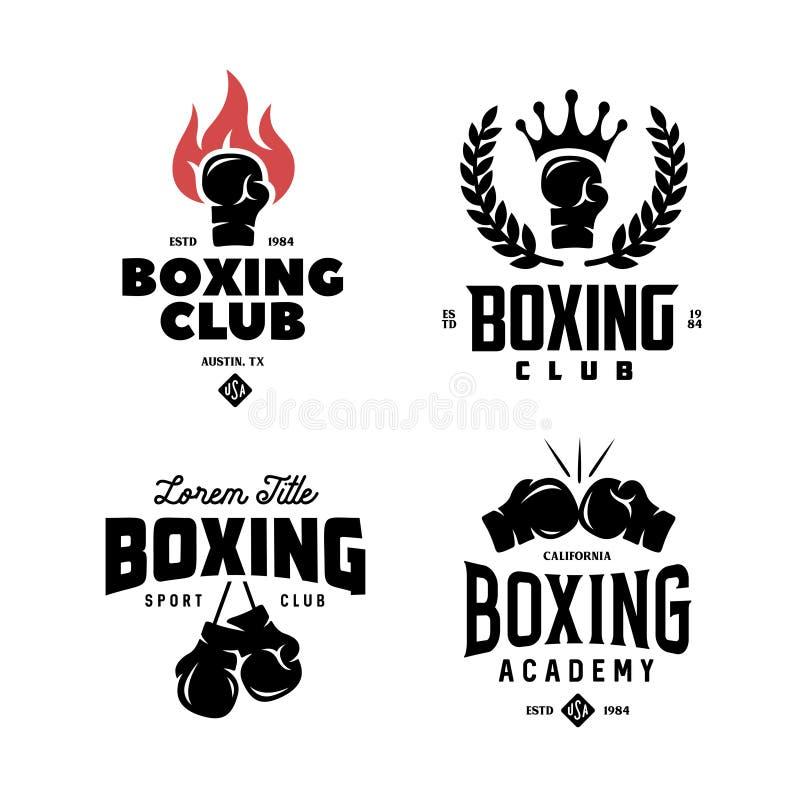 Boxas klubbaetikettuppsättningen Vektortappningillustration stock illustrationer