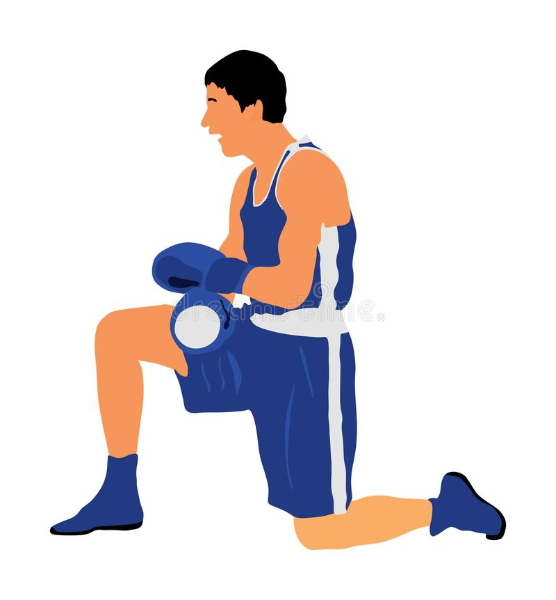 boxas Knockout som räknar boxaren på jordvektorn royaltyfri illustrationer
