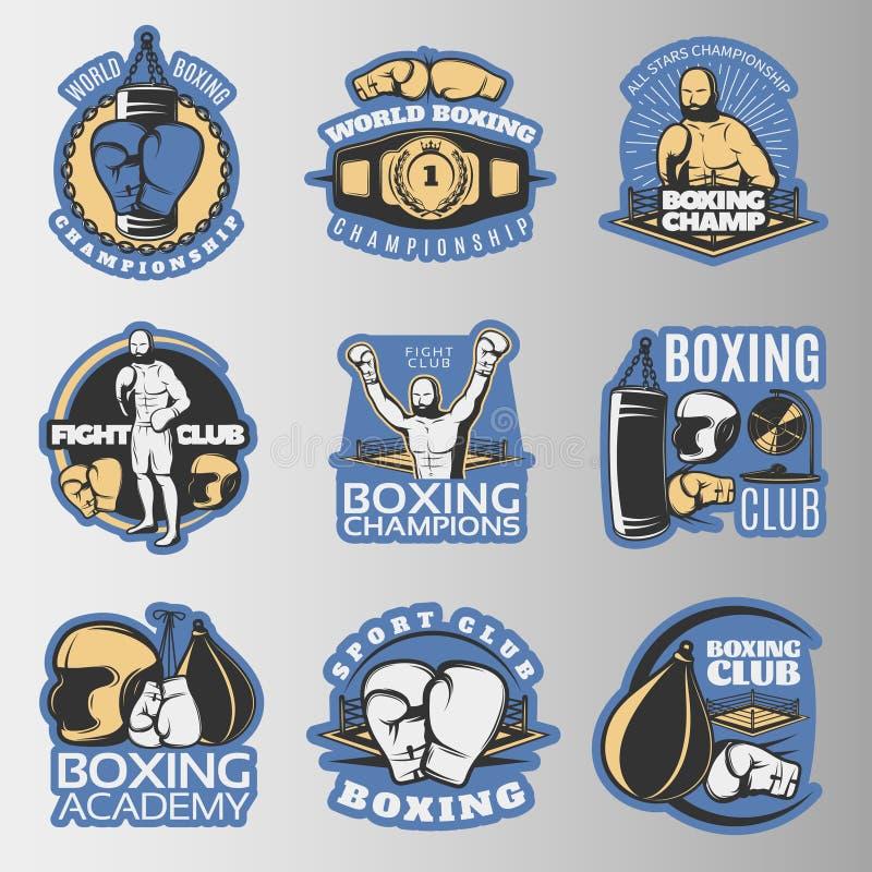 Boxas kulöra emblem stock illustrationer