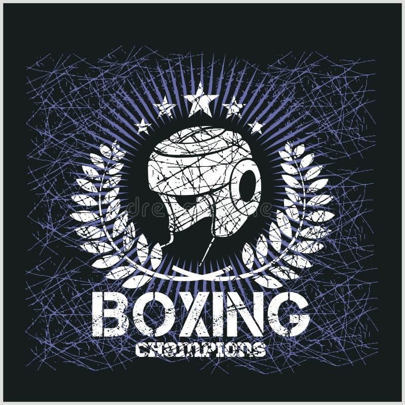 Boxas mästaren - tappningvektorkonstverk för t royaltyfri illustrationer