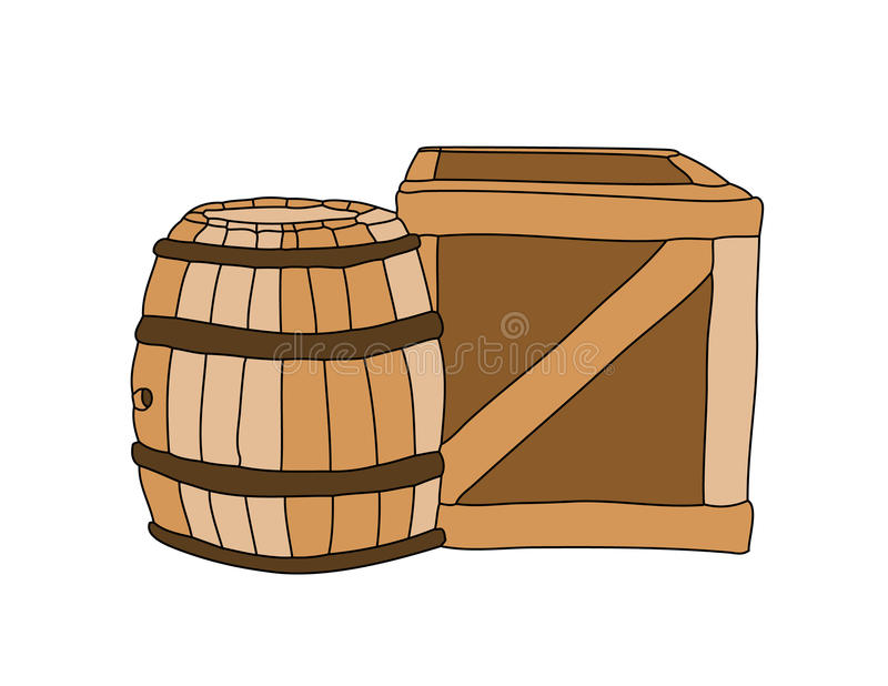 Boxas och cask royaltyfri illustrationer