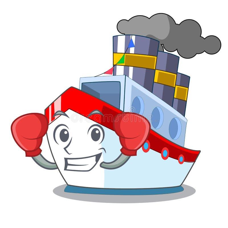 Boxas skeppet i trans.havmaskot vektor illustrationer