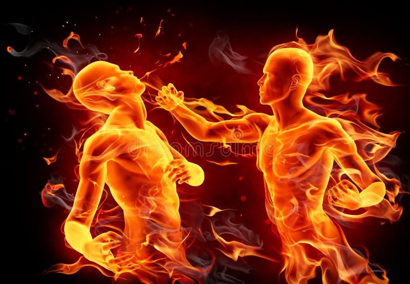 boxas slagsmål royaltyfri illustrationer