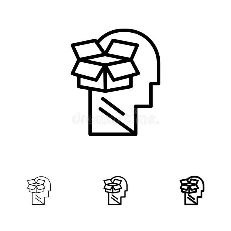 Boxas, Unbox, för data, för användaren, för mannen den satte en klocka på och tunna svarta linjen symbolsuppsättning royaltyfri illustrationer