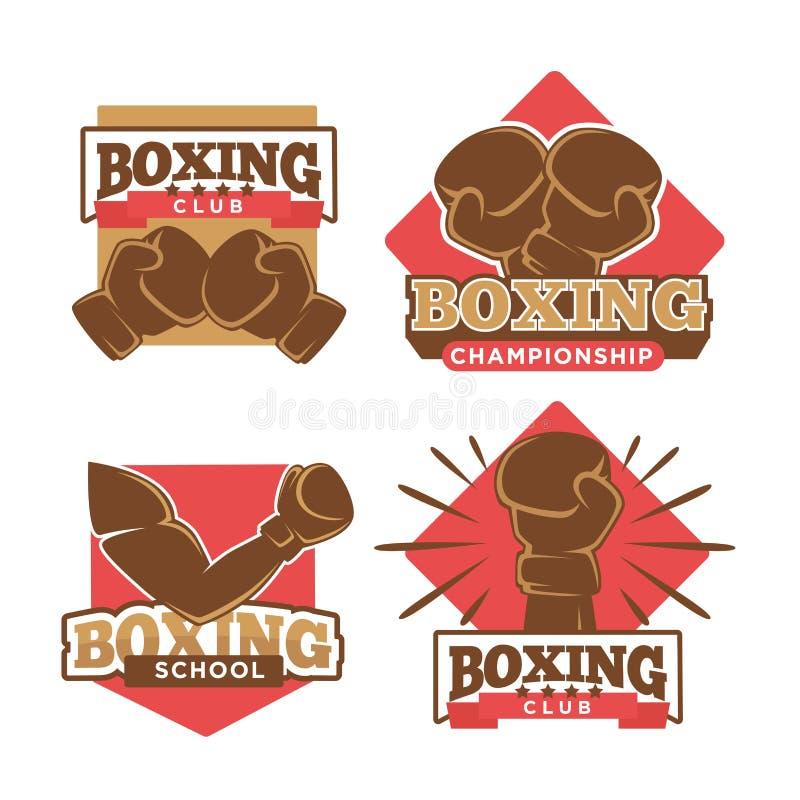 Boxas uppsättningen för etiketter för symboler för vektor för klubba- eller boxareskolamästerskap vektor illustrationer
