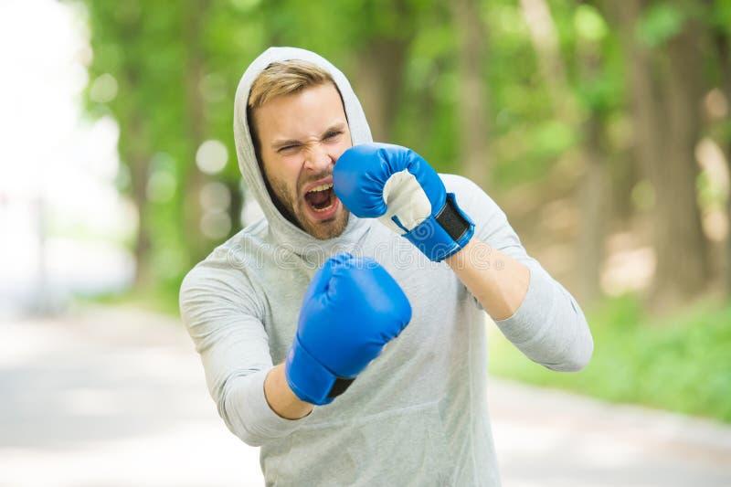 Boxas utbildningsuttålighet Koncentrerad framsida för man idrottsman nen med sporthandskar som öva boxas naturbakgrund boxare royaltyfria foton