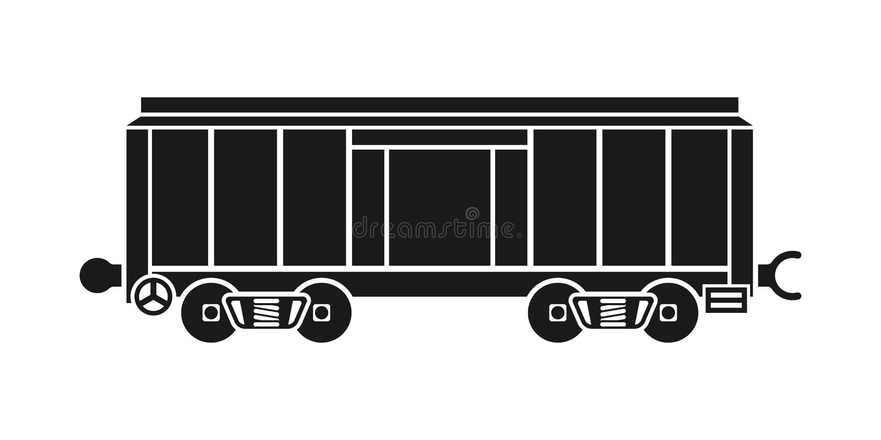 Boxcar, σιδηροδρομικό βαγόνι εμπορευμάτων απεικόνιση αποθεμάτων
