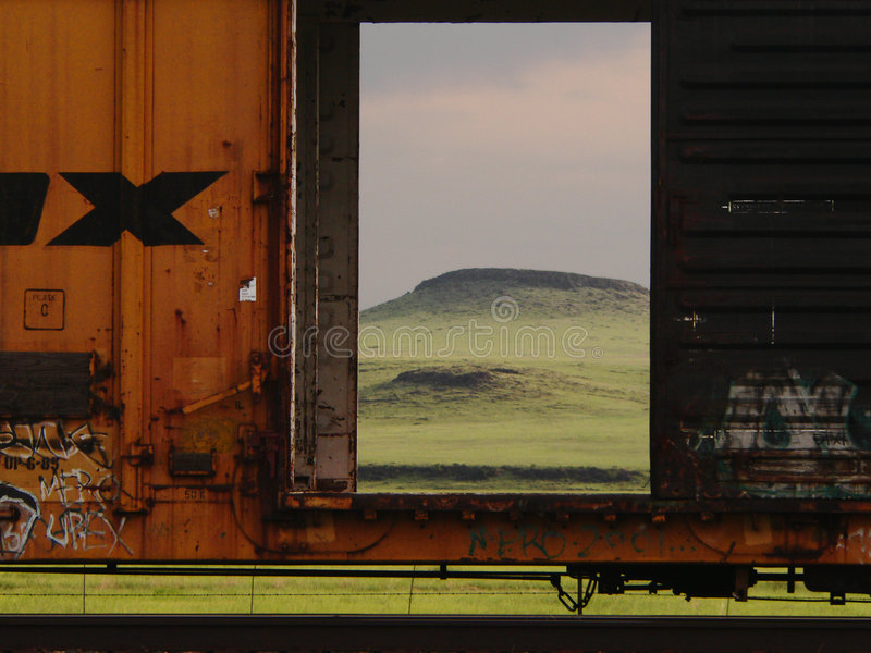 Boxcar close up. Open boxcar door in west Texas stock images