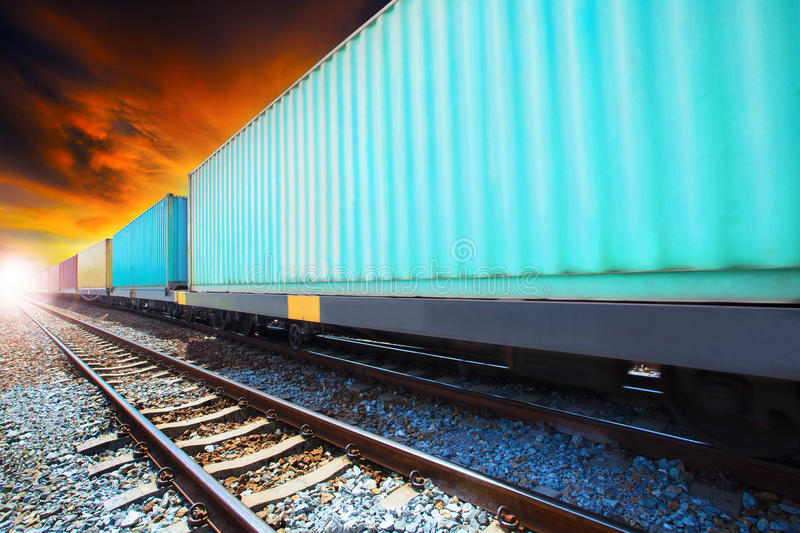 Boxcar container trains on track use for indutry land transportation royalty free stock photography