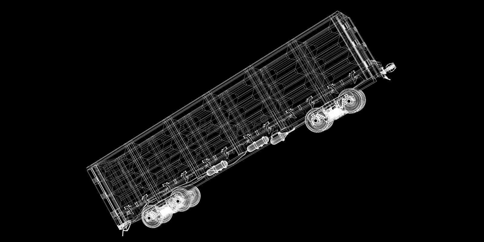 Boxcar. Railway carriagebody structure, wire model royalty free stock photo