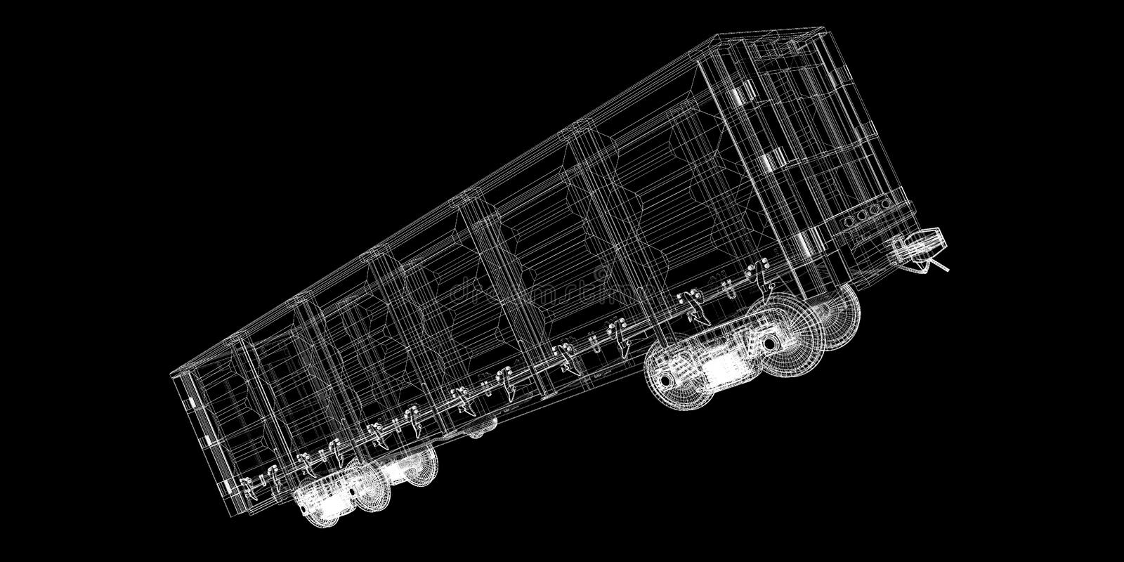 Boxcar. Railway carriagebody structure, wire model stock photography