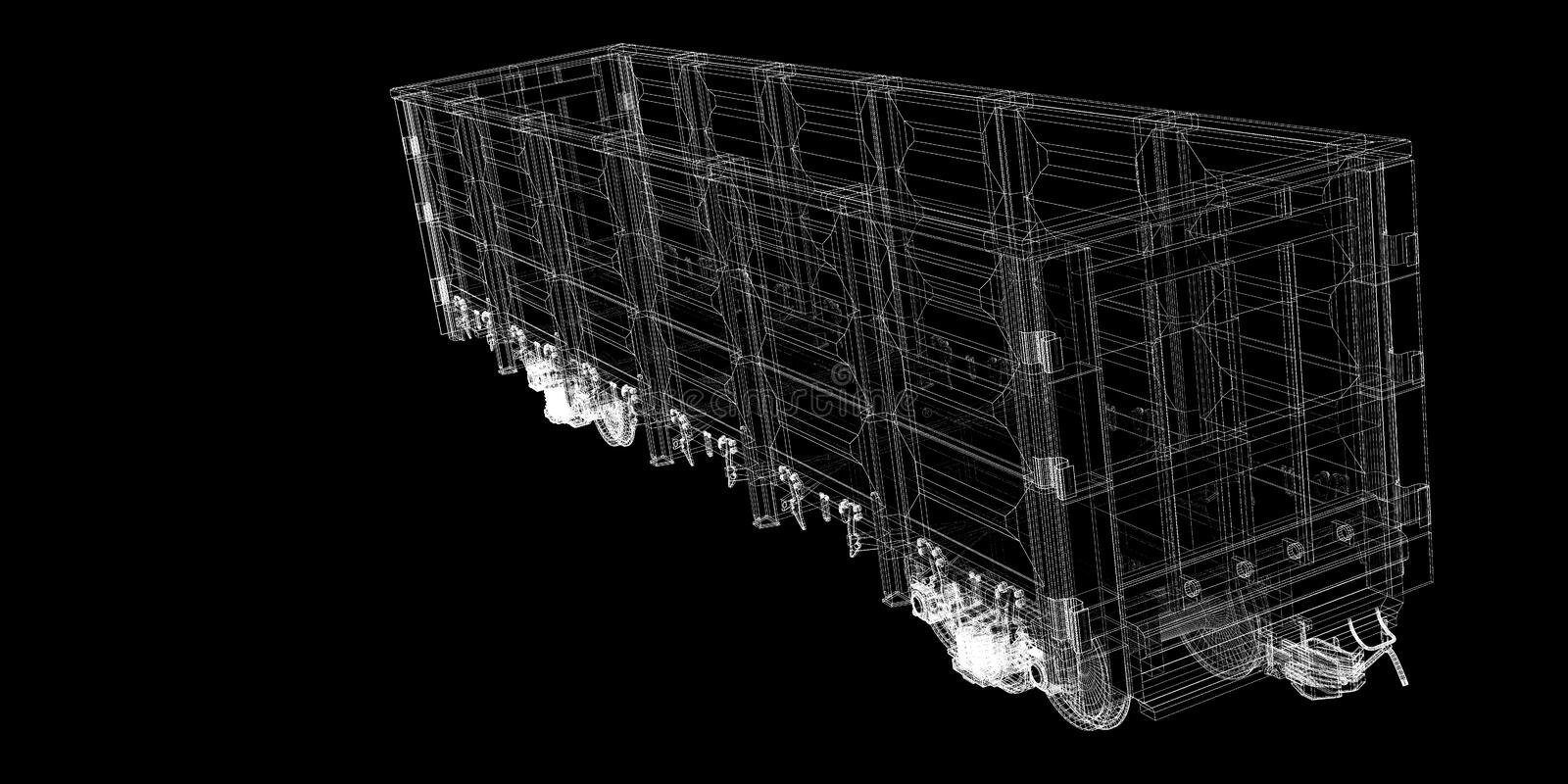 Boxcar. Railway carriagebody structure, wire model royalty free stock images