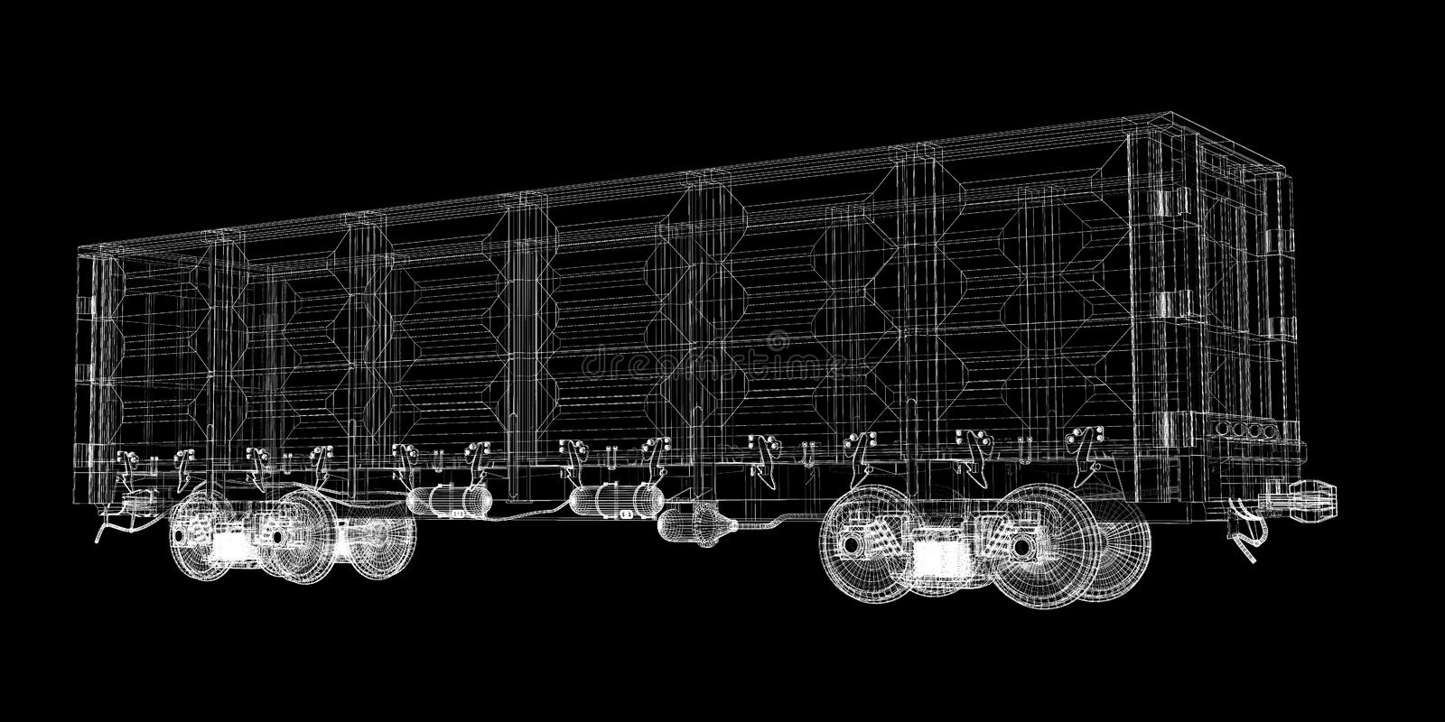 Boxcar. Railway carriagebody structure, wire model royalty free stock image