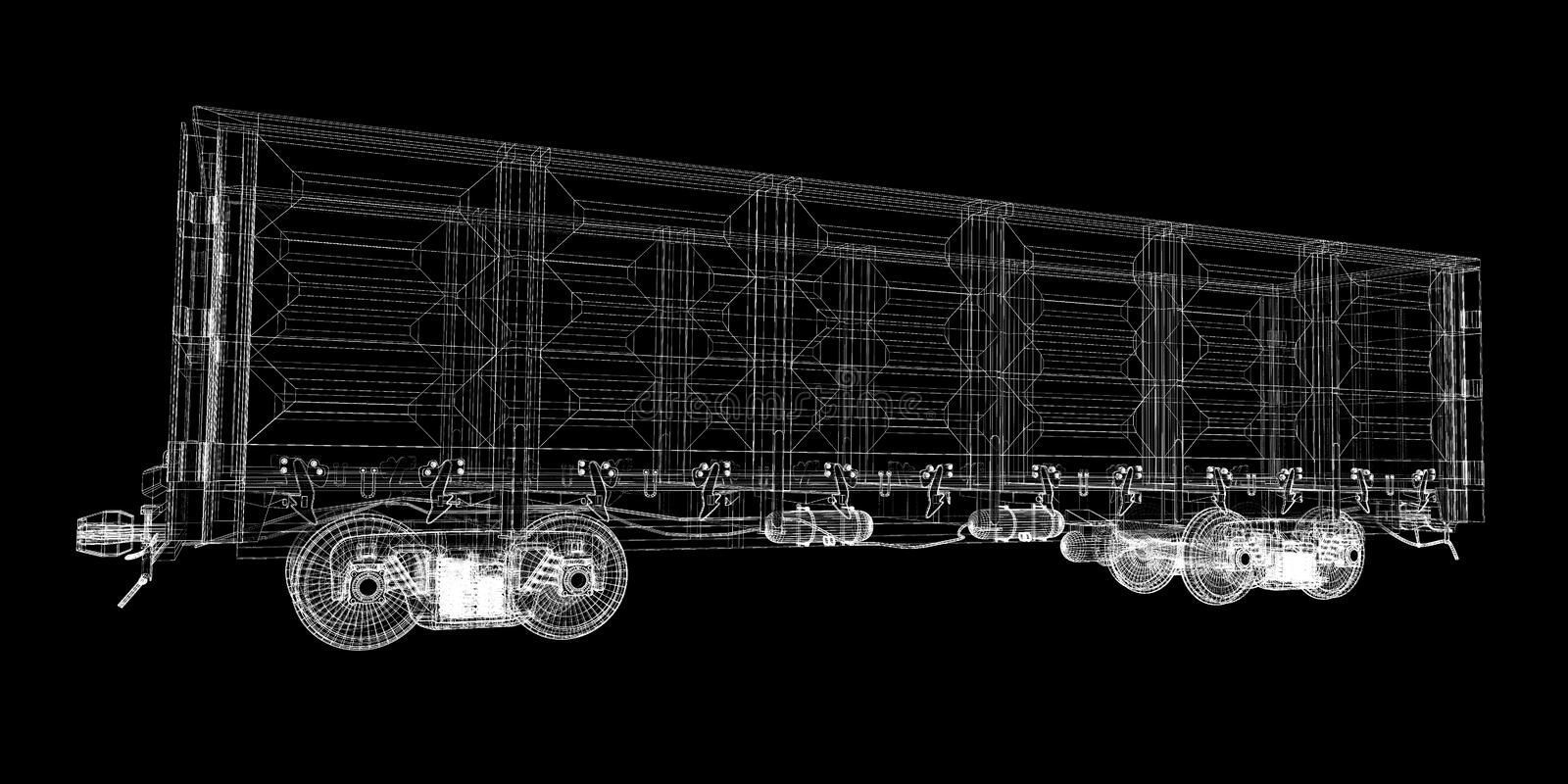 Boxcar. Railway carriagebody structure, wire model stock photo
