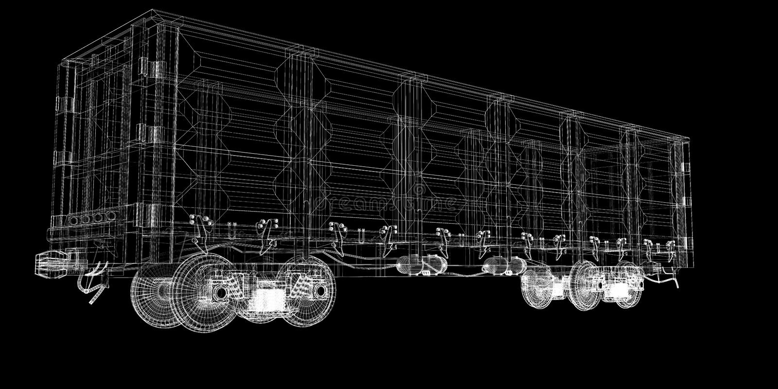 Boxcar. Railway carriagebody structure, wire model royalty free stock photos